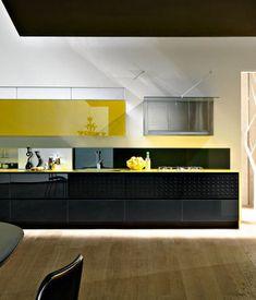 diseño de cocinas negro con color