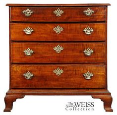 Tiger Maple Chest, Rhode Island, c.1770.   The feet are quintessentially Newport.  They have the famous ogee from on a slight platform.  37.5 H x 36 overall width x case width of 34.5 x 18 D.  Not crazy about the brasses but the overall look of the piece is wonderful.
