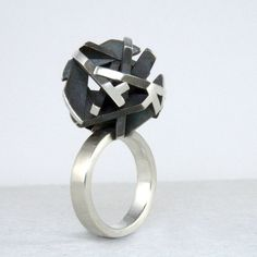 Geometric oxidized sterling silver ring, unique statement jewelry - Negative/Positive collection