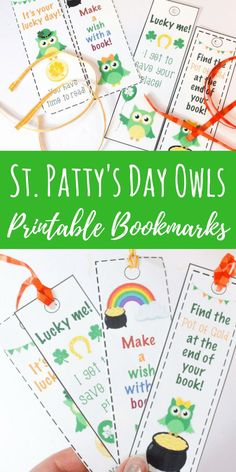 These St. Patrick's Day owl printable bookmarks are perfect to use during the St. They are funny and cute, perfect for young readers. Printable Bookmarks, Owl Printable, Bookmarks Kids, Bookmark Craft, Printable Activities For Kids, Preschool Printables, Kids Learning Activities, Speech Activities, St Patricks Day Crafts For Kids