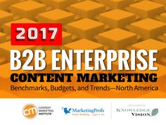 Latest B2B Enterprise Content Marketing Research - http://contentmarketinginstitute.com/2017/04/b2b-enterprise-marketers-audience-brands/?utm_term=READ%20THIS%20ARTICLE&utm_campaign=Time%20for%20B2B%20Enterprise%20Marketers%20to%20Get%20Focused%20on%20Their%20Audience%20Vs.%20Their%20Brands%20%5BNew%20Research%5D&utm_content=email&utm_source=Act-On%20Software&utm_medium=email