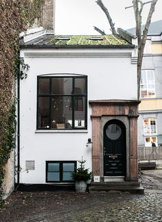 "keroiam: "" The Evergreen Cottage, Denmark "" Love this tiny house in Denmark! Caety, it makes me think of you and our precious time together in Copenhagen. Exterior Design, Interior And Exterior, Exterior Doors, House Goals, Little Houses, Tiny Houses, Crazy Houses, My Dream Home, Future House"