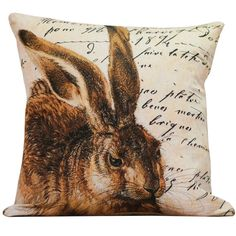 Throw Pillow Cover  Vintage French Rabbit by ElliottHeathDesigns, $39.00
