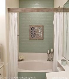 Bathroom Stencils: The Wonder Wall that Lasts Longer Than Wallpaper - Large Wall Stencils for Decorating DIY Bathroom Walls from Royal Design Studio Bathroom Interior, Modern Bathroom, Small Bathrooms, Minimal Bathroom, Rental Bathroom, Boho Bathroom, Master Bathrooms, Bathroom Inspo, Budget Bathroom