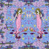Dance Of The Sea Fairy Maidens by intricatearts, Spoonflower digitally printed fabric