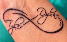 infinity tattoo with kids names | Infinity tattoo with kids names on wrist | Tattoos-probably would get this on my lower left side if my back #TattooIdeasForKidsNames