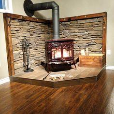 Wood Burning Stove Corner, Wood Burning Logs, Corner Stove, Wood Stove Surround, Wood Stove Hearth, Wood Burner, Home Fireplace, Fireplace Surrounds, Fireplace Design