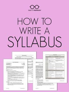 How to Write a Syllabus