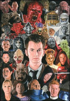 Doctor Who - Monsters + Aliens. Painting in acrylics on board by Steve Caldwell. A recently completed commission for a tenth Doctor fan (although I thin. Doctor Who -Monster + Aliens Doctor Who 10, Doctor Who Fan Art, 10th Doctor, Dr Who Companions, Paul Mcgann, Peter Davison, Fantasy Movies, Superwholock, Tardis