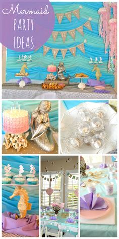 What a amazing mermaid girl birthday party with a blue and green backdrop and hanging jellyfish decorations!  See more party ideas at CatchMyParty.com!