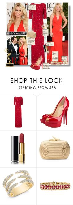 """""""Favorite Emmy Awards Nominee: Claire Danes"""" by googie-googie ❤ liked on Polyvore featuring Versace, Jenny Packham, Cyrus, Christian Louboutin, Chanel, Diane Von Furstenberg, Effy Jewelry and Loushelou"""
