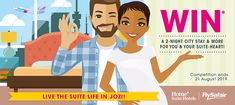 FlySafair & Home* Suite Hotels are giving you a chance to win a 2-night stay and 2 x return flights . Enter now to stand a chance to win this awesome prize. #LifeisSuite