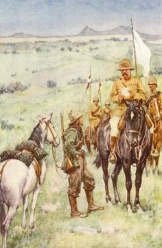 Kitchener and General Cronje's messenger, Paardenberg, February 1900 Military Art, Military History, Age Of Empires, South Afrika, Out Of Africa, British Colonial, Edwardian Era, Historical Pictures, British Army