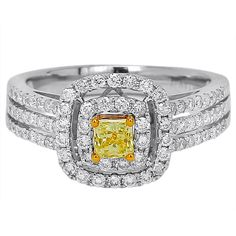 Womens 1 CT. T.W. Round Yellow Diamond 14K Gold Engagement Ring ($10,879) ❤ liked on Polyvore featuring jewelry, rings, canary diamond ring, round engagement rings, yellow diamond rings, yellow gold engagement rings and canary yellow diamond engagement rings
