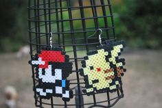 Red/Ash and Pikachu Earrings Made out of Perler Beads :). $5.00, via Etsy.