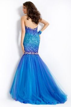 Party Time Formals 2013 Turquoise Strapless Sweetheart Sequin Mermaid Ombre Prom Gown 6019 | Promgirl.net