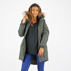 Vero Moda Khaki Green Parka Jacket With Pale Pink Faux Fur Trim Hood   £49.99 *