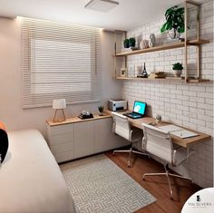 "Não sabe por onde começar e fica se perguntando como montar um home office? Confira essas 5 dicas! Se você gosta de tons mais claros, e um estilo ""Pinterest""... #homeofficedecor #homeoffice #diyhomeoffice Home Office Design, Home Office Decor, Home Interior Design, Girls Room Design, Small Room Design, Grey Bedroom Furniture, Home Furniture, Kitchen Decor Signs, Small Home Offices"