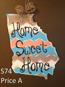 Hand Painted Chevron Home Sweet Home Georgia Wall Decor Paint Chevron, Georgia Homes, Home Decor Signs, Wood Cutouts, Wood Doors, Door Hangers, Sweet Home, Sports Decor, Wall Decor