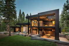 sagemodern have designed this contemporary home nestled between the trees along side a golf course in Truckee, California.