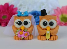 Wedding cake topper owl bride and groom by PerlillaPets on Etsy