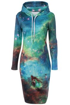 $21.33 Hooded 3D Galaxy Print with Pocket Dress