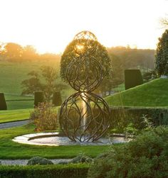 Water Sculpture by Giles Rayner at Castle Hill. Devon, England.