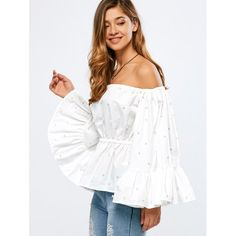 Wholesale Off The Shoulder Flare Sleeve Beaded Top Only $12.29 Drop Shipping | TrendsGal.com