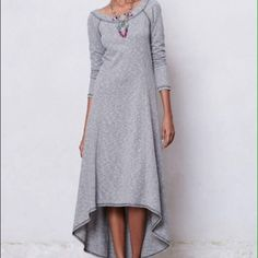 7a7dd5d1456 Puella for Anthropologie french terry dress L Gorgeous super comfortable  versatile high low Puella gray dress