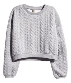 Short gray quilted top with long sleeves. | Warm in H&M