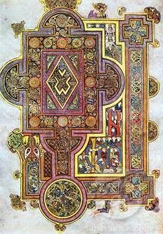 """Opening words of St Luke's Gospel Quoniam. Book of Kells 6th century manuscript of the Four Gospels."""
