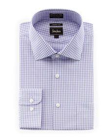 No-Iron Trim-Fit Gingham Dress Shirt, Purple