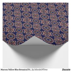 Maroon Yellow Blue Botanical Fractal Art Pattern Wrapping Paper