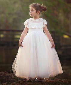 Happy Cherry Baby Girls A-Line Christening Gown White Wei/ß