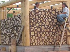 I love the patterns of cordwood or stackwall.  It has very high thermal R values and is very ecological!  It is labor intensive but great for DIY folks.  I want a cordwood sauna in my backyard.....do you hear that honey?