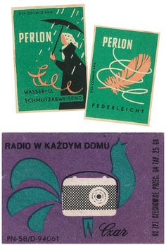 whenever i am feeling drained of inspiration, i can always find some looking through old matchbooks. Vintage Labels, Vintage Ads, Vintage Designs, Radios, Matchbox Art, Artwork For Home, Print Design, Graphic Design, Print Packaging