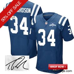 $129.99 Men's Nike Indianapolis Colts #34 Trent Richardson Elite Team Color NFL Autographed 30th Seasons Patch Blue Jersey