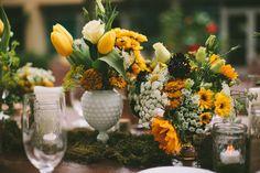 Yellow floral centerpieces by Orange Blossoms Florals & Event Styling http://orangeblossomsflorals.com