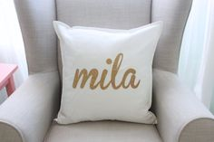Hey, I found this really awesome Etsy listing at https://www.etsy.com/listing/260769381/personalized-gold-glitter-pillow-cover
