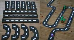 pista de carros de papelão