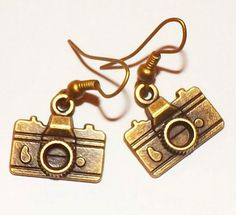 Vintage Retro Photography Camera  Bronze Earrings by ANGELxFAIRY