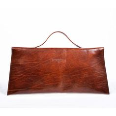 Small suitcase leather clutch- Dark brown by meckela