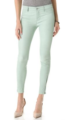 J Brand Super Skinny Leather Pants // Oh my goodness, it's mint leather.