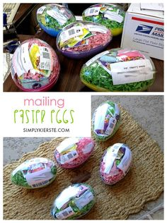 Did you know you can mail plastic Easter Eggs to your kids, family, friends! Just fill jumbo-sized eggs w/ grass & candy, tape it up, label, and mail! FUN!