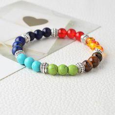 Multi Color Natural Stone 7 Chakra Healing Bracelets