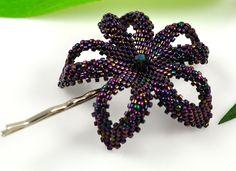 Beaded flower hair clip - dark metallic plum - Vineyard Madri Gras. $45.00, via Etsy.