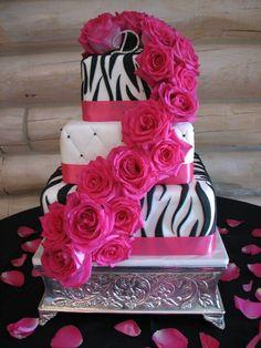 Pink and black wedding cake.