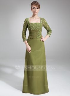 Sheath/Column Square Neckline Floor-Length Chiffon Mother of the Bride Dress With Beading Sequins (008006049) - JJsHouse