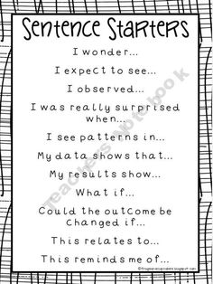 Observation Journal sentence starters / sentence stems.