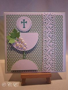 First Communion Cards, Holy Communion Invitations, First Holy Communion, Spellbinders Cards, Flower Cards, Greeting Cards Handmade, Diy Cards, Scrapbook Cards, Christening